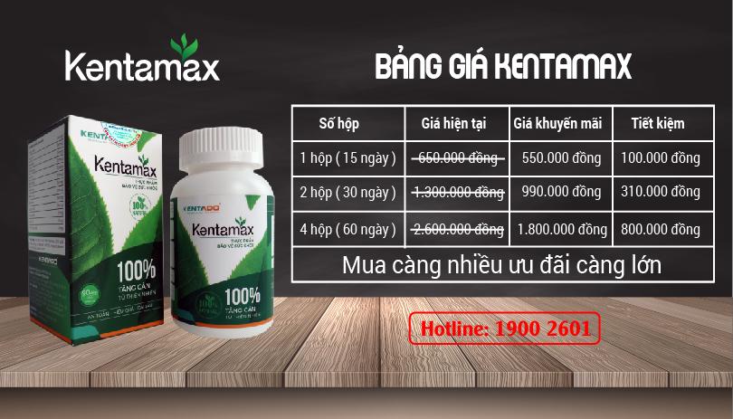 Bảng giá bán giải pháp tăng cân Kentamax