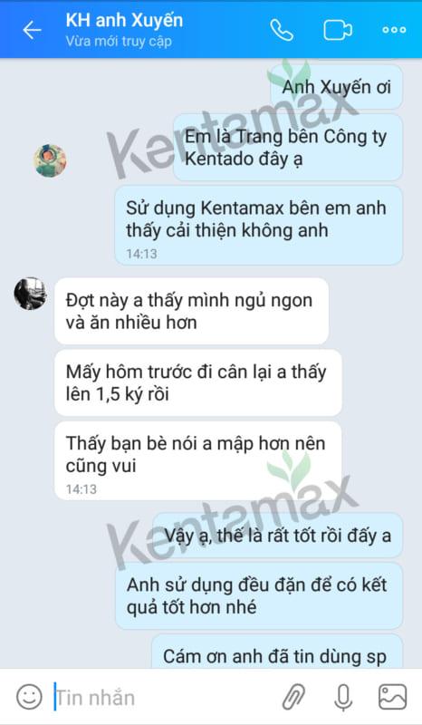 Phản hồi của anh Lê Văn Xuyến sau khi sử dụng Kentamax
