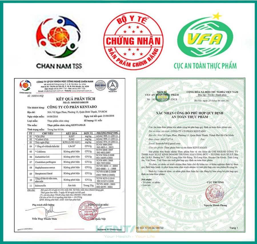 Kentamax đã được Bộ Y tế cấp giấy chứng nhận an toàn và chất lượng