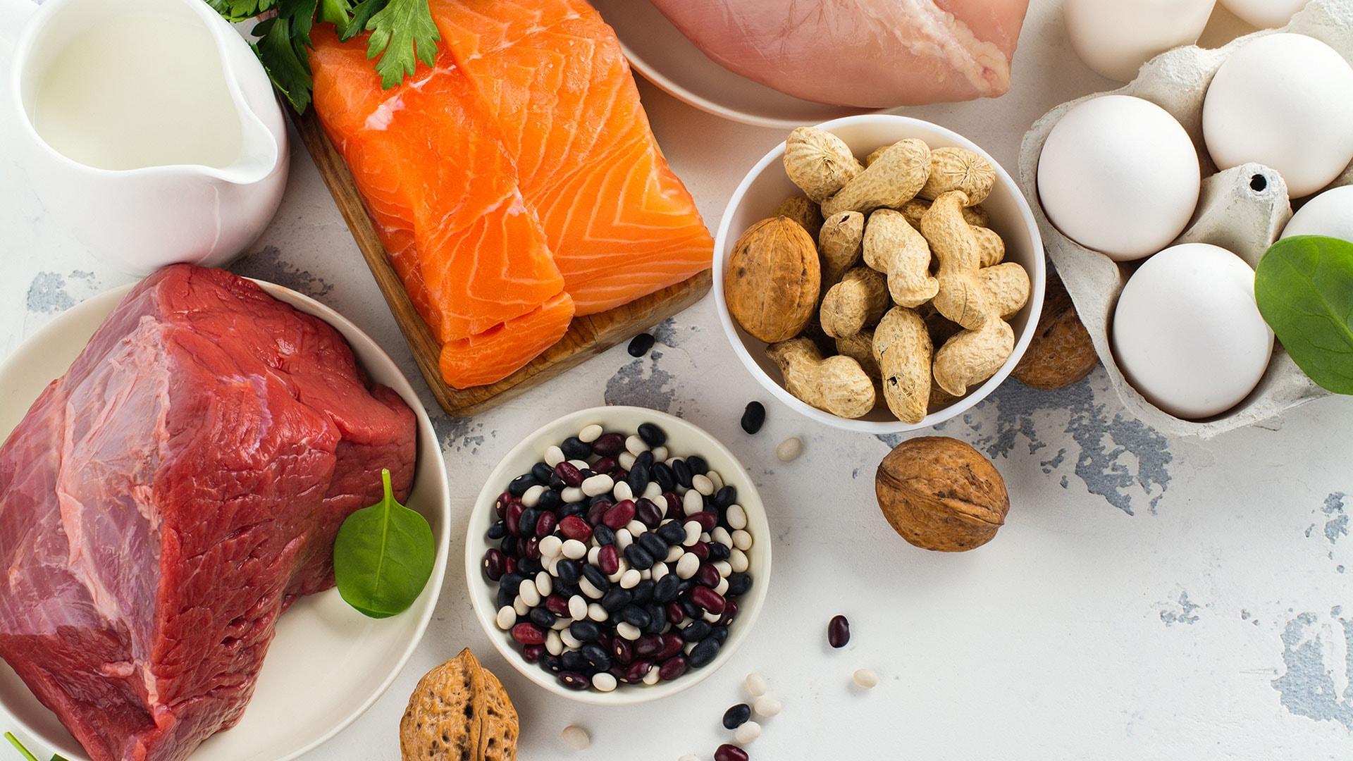 Thịt, cá, tôm, trứng, sữa chứa nguồn protein đa dạng